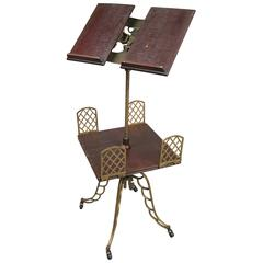 Antique Adjustable Bookstand with Iron Base and Bookshelf