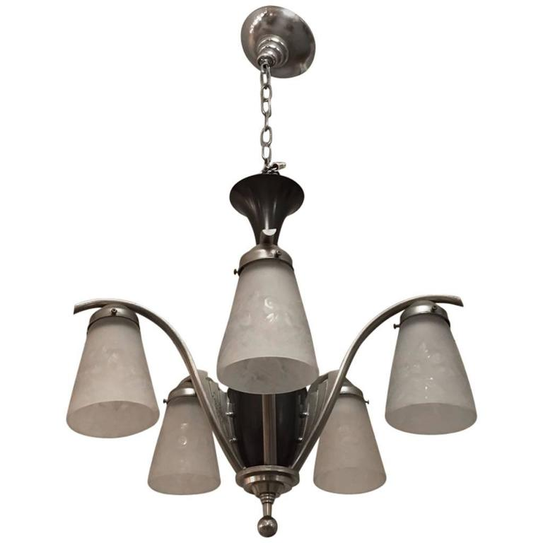 French Art Deco Chandelier Signed by Muller Freres For Sale