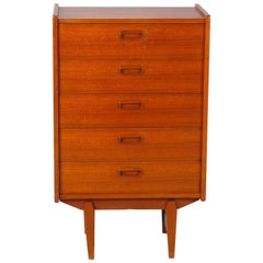 Small Midcentury Walnut Chest on Tapered Legs