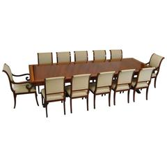 Mahogany Dining Table and 12 Chairs by Kindel, Neoclassic Collection