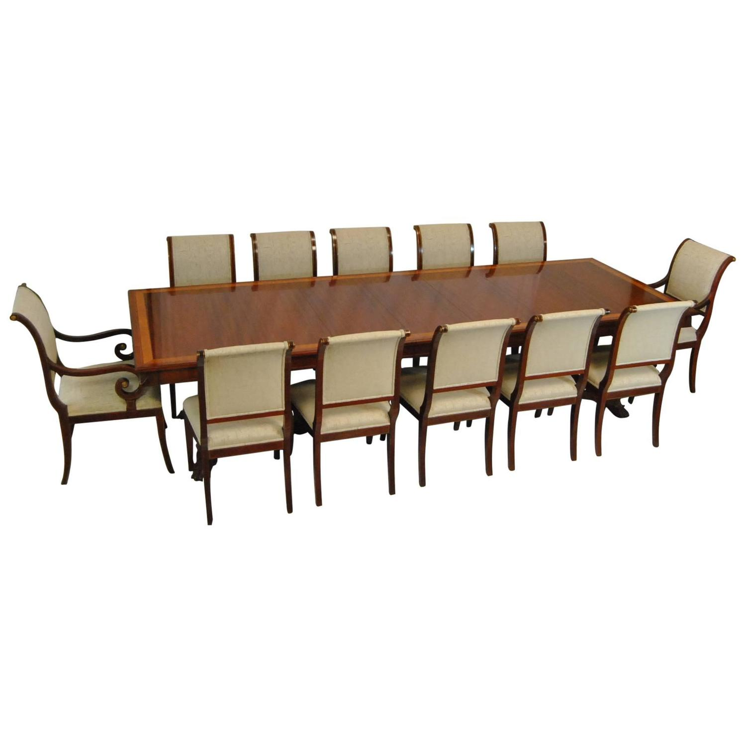 mahogany dining table and 12 chairs by kindel neoclassic collection at 1stdibs. Black Bedroom Furniture Sets. Home Design Ideas