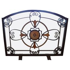 French Art Deco Wrought Iron Fire Screen By Szabo, Circa. 1925