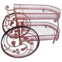 Salterini Original Painted Metal Large Wheel Beverage Cart