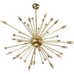 Italian Midcentury Style Brass Sputnik Chandelier