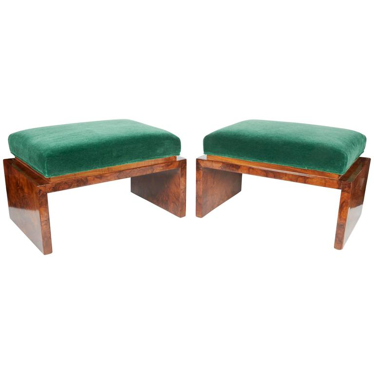 Rare Art Deco Low Benches In Emerald Mohair And Burled