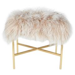 Ultra Luxe Tibetan Lamb's Wool Bench in Champagne & Matte Gold