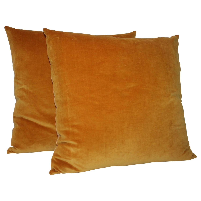 Orange Velvet Throw Pillows : Pair of Sunrise Orange Velvet Pillows at 1stdibs