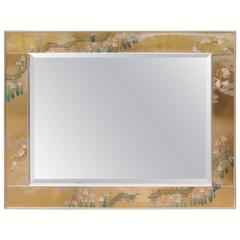 Labarge Églomisé Hand-Painted Beveled Mirror
