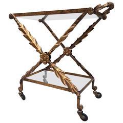 Vintage French Iron Gilt Bar Cart