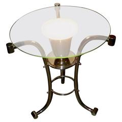 Art Deco Glass Side Table with Uplight
