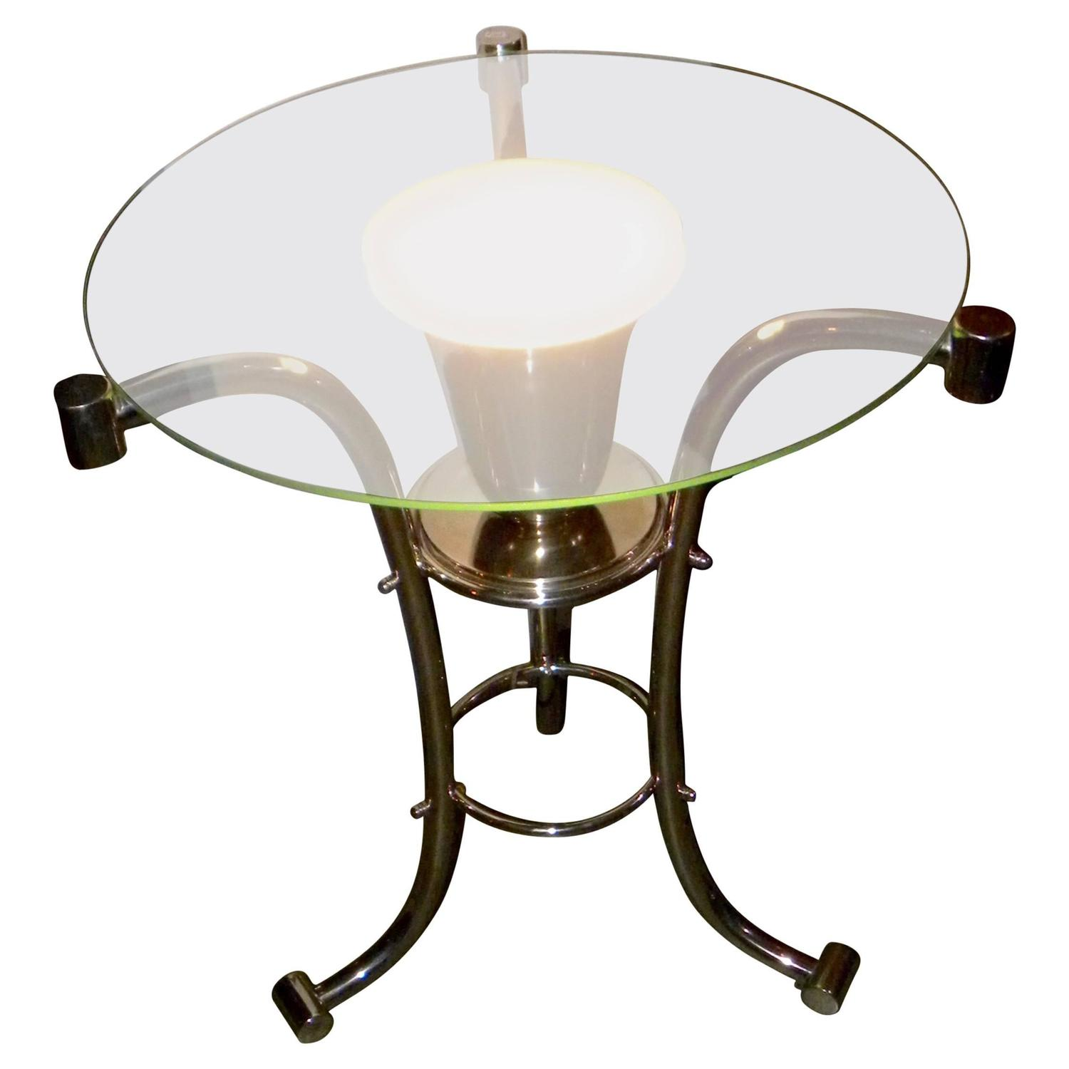 Art Deco Glass Side Table With Uplight For Sale At 1stdibs