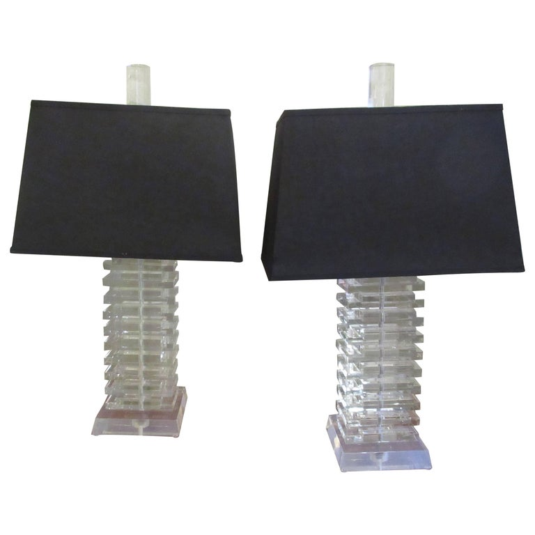 Pair of Large Stacked Lucite Table Lamps