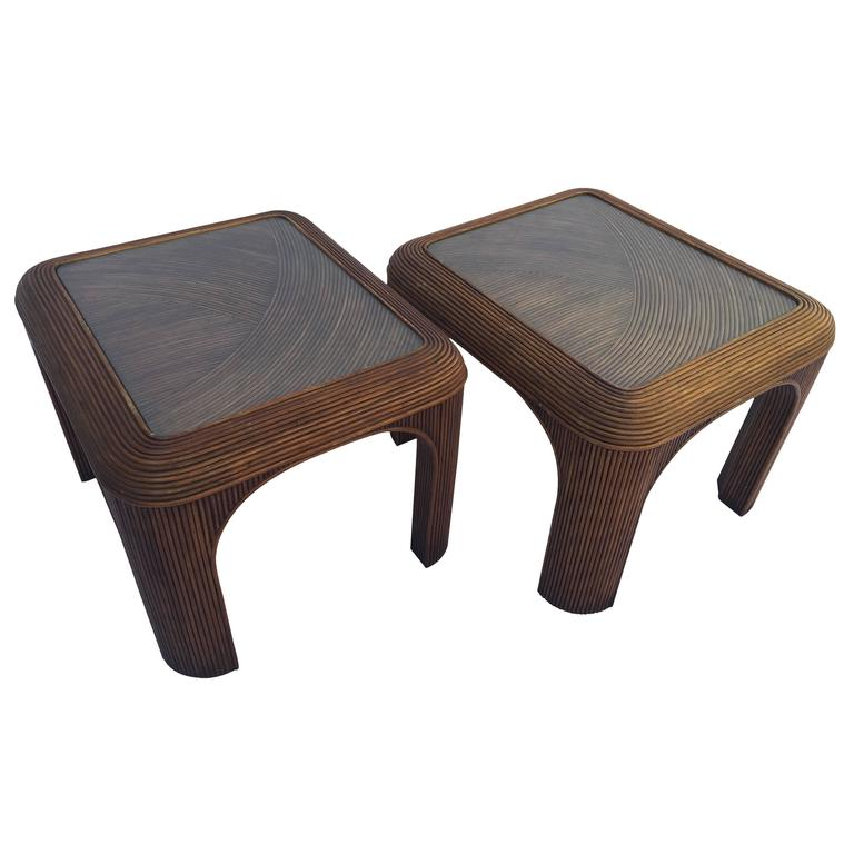 Pair Of Vintage Split Reed Stick Rattan End Tables With