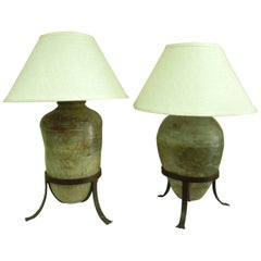 Large Pair of Antique Vessel Lamps for Steve Chase