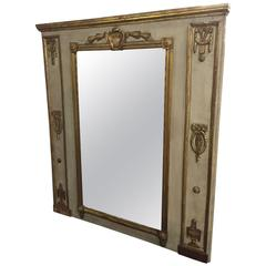 18th Century French Trumeau Mirror with Gilt Decoration
