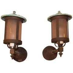 1930s Pair of Signed Bradley and Hubbard Black Copper Lantern Exterior Sconces