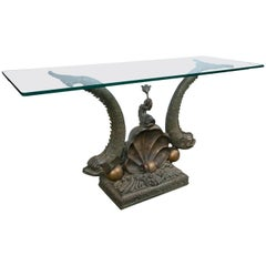 Fantastic Glass Topped Bronze Dolphins Console Table
