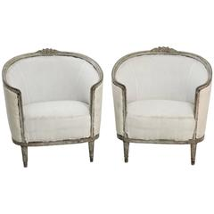 Antique Pair of Swedish Bergere Chairs with Barrel Backs, 19th Century