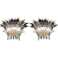 "Greats Pair of Sconces of the Famous ""Palmette"" by Barovier & Toso, 1960"