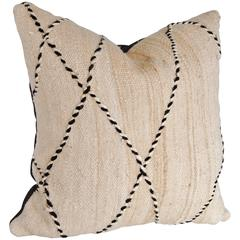 Custom Pillow Cut from a Vintage Hand Loomed Wool Beni Ourain Berber Rug