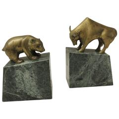 Brass Bear and Bull Bookends