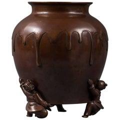 Japanes Bronze Vase with Kariko or Children Figures as Legs