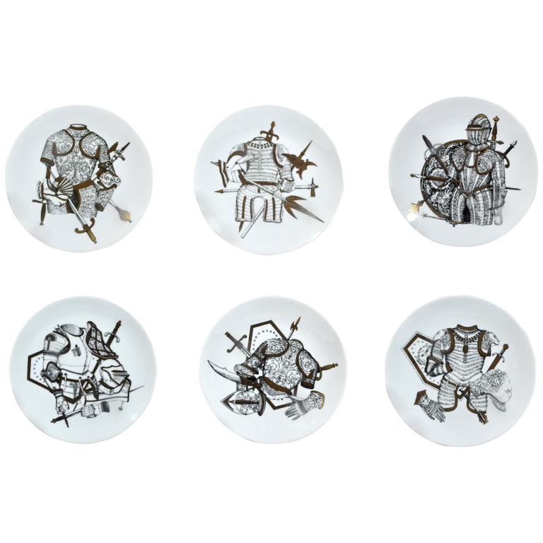 Piero Fornasetti Set of six Plates in Armature Pattern with Coats of Arms.