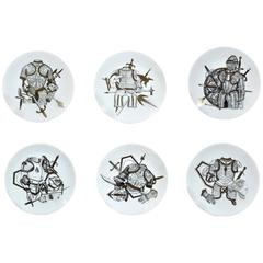 Set of Six Piero Fornasetti Plates with Coats of Arms, Armature Pattern