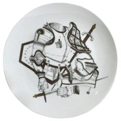 Piero Fornasetti Plate with Antique Coats of Armour, Armature Pattern