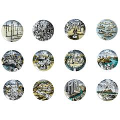 Piero Fornasetti Citta di Carte City of Cards Plates in Complete Set of 12
