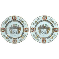 Chinese Export Armorial Pair of Plates for Scotland,  Arms of More Impaling Hog