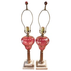 Pair of 19th Century Glass Overlay Red-Cut-to-Clear Kerosene Lamps, Electrified