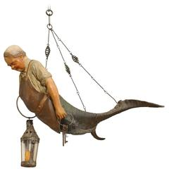 Late 19th Century Austrian Sculptural Carved Wood and Horn Merman Chandelier