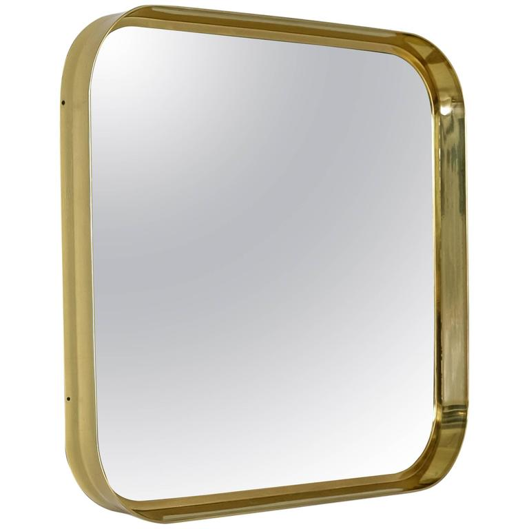 Brass rectangular wall mirror, Germany, 1950s
