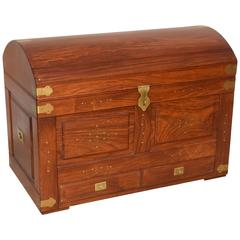 Anglo-Indian Domed Camel-Back Trunk in Teak Wood with Inset Brass and Hardware