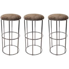 Set of Three Mid-Century Round Chrome and Suede Barstools with Tubular Legs