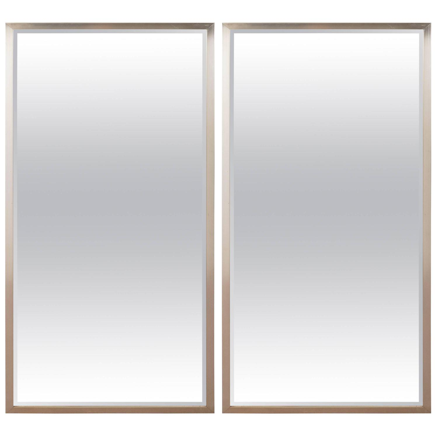 Pair of mid century steel framed beveled wall mirrors at for Beveled wall mirror