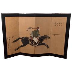 Japanese Late 19th Century Four-Panel Screen of a Samurai Figure on Horseback