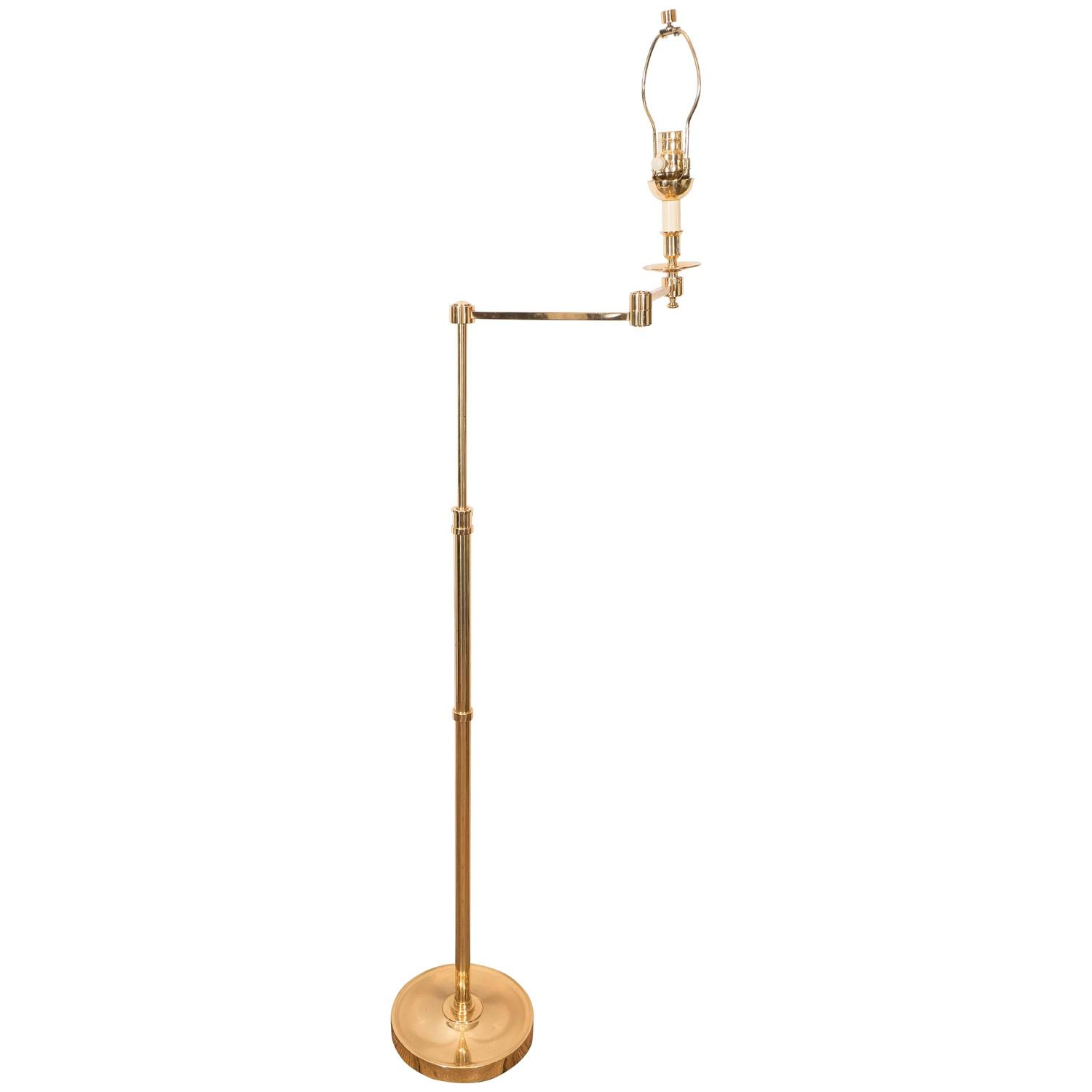 midcentury brass adjustable floor lamp with articulated. Black Bedroom Furniture Sets. Home Design Ideas
