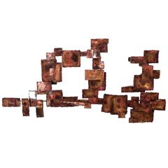A Curtis Jere Style Abstract Brutalist Copper Wall Sculpture