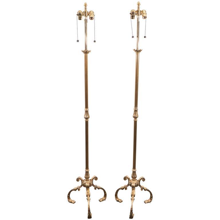 Pair of midcentury brass floor lamps by marbro lamp for Hyatt 6 light floor lamp brass