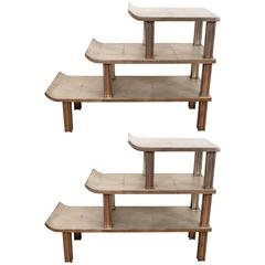 Pair of James Mont Three-Tier Pagoda Shelves and Side Tables in Silver Leaf