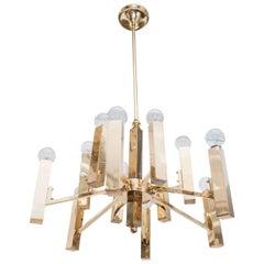 A Gaetano Sciolari Twelve-Arm Brass Chandelier