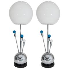 Pair of Chrome Laurel Lamps with White Glass Globe Shades and Radiating Lights