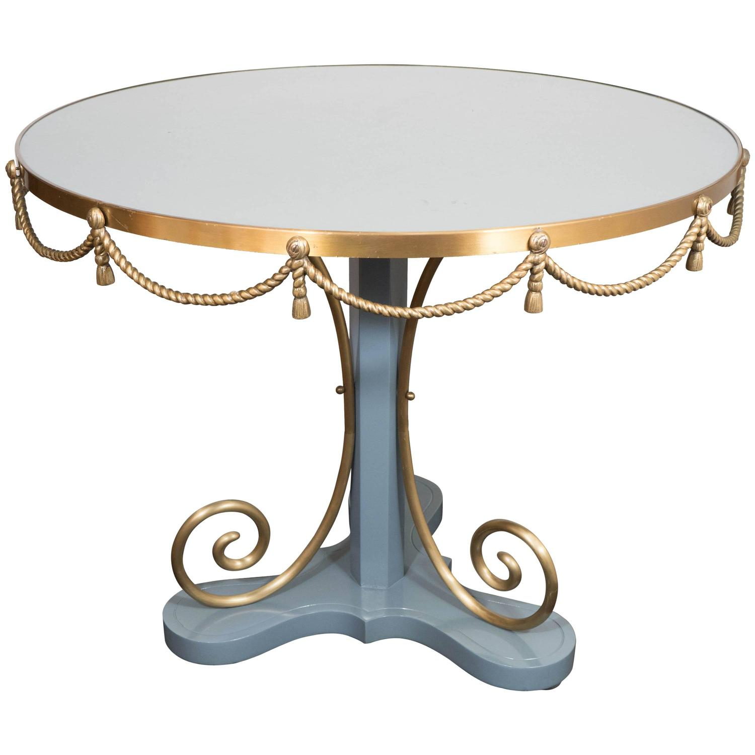 Hollywood Regency Style Round Lacquered Dining Table With Brass Rope