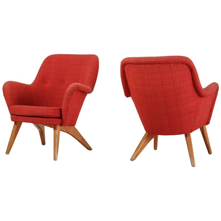 Carl Gustav Hiort af Ornäs Pair of Lounge Chairs, Finland, 1950s