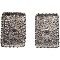 Antique Pair of English  Silver Post-Trays