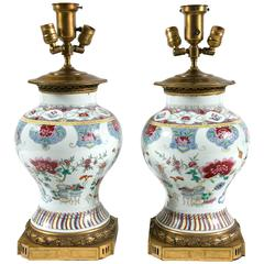 Pair of 1800s Chinese Family Rose Lamps with Gilt Bronze