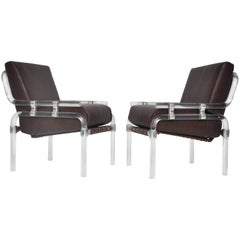 """Lucite Pair of """"1000 Pipe Line Series Chairs"""" by Jeff Messerschmidt"""
