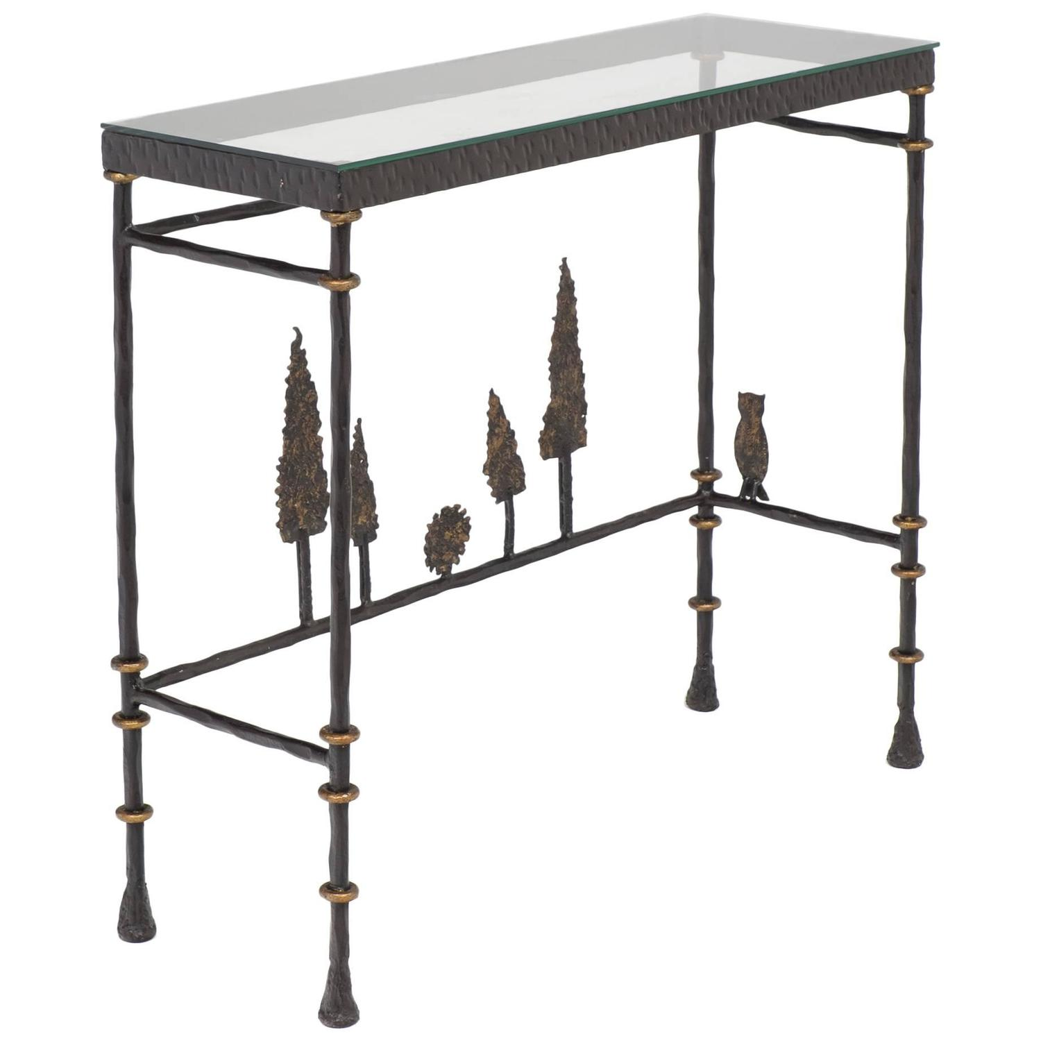 Iron Console Table : Giacometti Style Forged Iron Console Table at 1stdibs